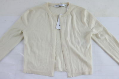 NWT $525 Christian Dior Beige Cashmere/Silk Blend Long Sleeve Cardigan Size 2