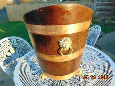 Large Coopered Brass & Mahogany With  Lions Feet & Head  Log / Coal  Scuttle