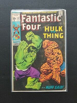 Fantastic Four #112 VG FN (1971, Marvel Comics) Incredible Hulk vs Thing Key