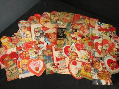 Lot Vintage Die Cut Valentine Cards 1940's 50's Used 100 Cards and 21 Homemade