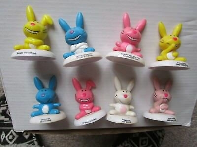 Lot of 8 Jim Benton Happy Bunnies Mini Figures Cake Toppers Sarcastic
