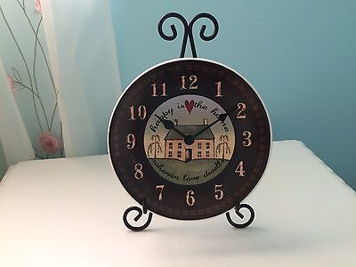 Happy Sweet Home Primitive Country Folk Art Table Mantel Easel Clock Decor