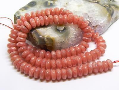 "AAA NATURAL STRAWBERRY PINK RHODOCHROSITE RONDELLE  BEADS 8mm 275cts 16"" STRAND"