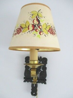 Vintage Cast Iron Kitchen Trivet Pinup Lamp Light Hand Tole Painted Signed Shade