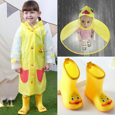 Child Kids Rain Boots Shoes / Hat Cartoon Duck Raincoat Umbrella Waterproof VS