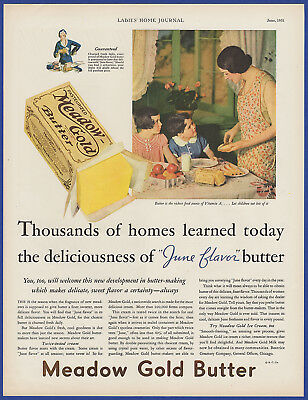 Vintage 1931 MEADOW GOLD Butter Food Kitchen Art Decor Ephemera Print Ad 30's