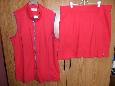Quacker Factory Active French Terry Red Vest & Skort Set  Xl   18-20  Nwt