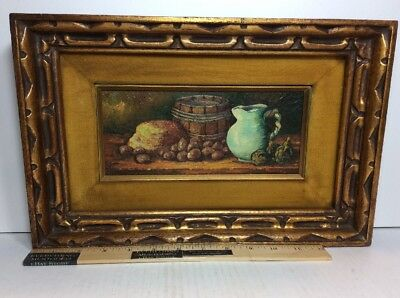 Original Still Life Oil Painting On Board Signed Mystery Artist Gold Wood Frame