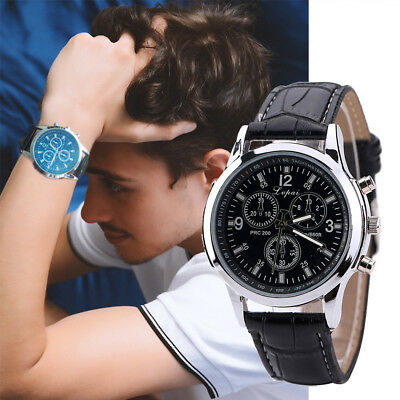 New Mens Watch Stainless Steel Leather Black/Brown Strap Analog Wrist Watches VS
