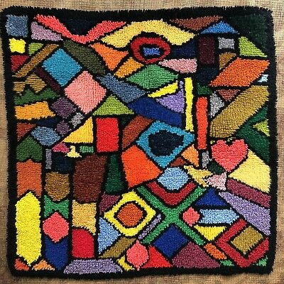 "Vtg 70s 34"" Square Abstract Mosaic Mid century Psychedelic Geometric Hooked Rug"