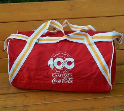 Vintage 1989 Coca Cola Barrel Duffle Bag Cameron Mountaineer Park Red Gym Duffel