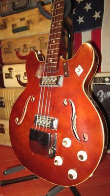 Vintage Original 1972 Harmony H420 Hollowbody Bass Burgundy With Soft Case