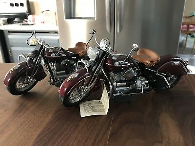 Lot Of Two (2) FRANKLIN MINT 1942 Indian Motorcycle Model 442