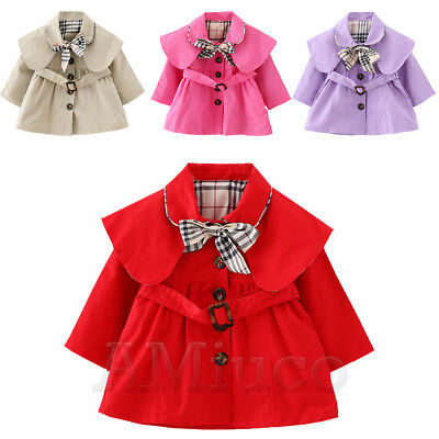 Toddle Baby Girls Kid Trench Coat Grid Bowknot Outerwear Long Sleeve Wind Jacket