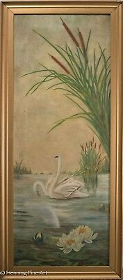 Beautiful Antique Oil Painting of 2 White Swans on Lake w/ Lilies & Cattails!