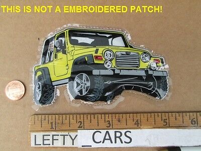 Yellow Jeep Image Vinyl Patch - Sew On Type