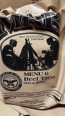 MRE Beef Taco 2020 Meals Ready To Eat US Military MREs FREE SHIPPING Meal 6