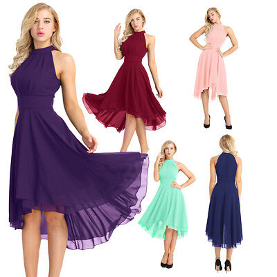 Women Formal Wedding Bridesmaid Evening Party Ball High Low Gown Cocktail Dress