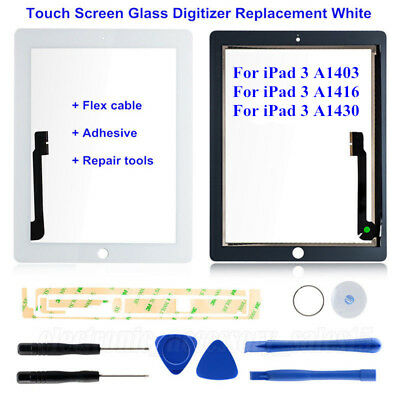 New Touch Screen Glass Digitizer Replacement for iPad 3 with Adhesive + Tools