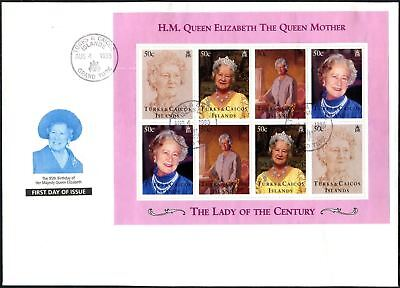 Turks & Caicos Islands 1995 The Queen Mother Sheet FDC First Day Cover #V6640