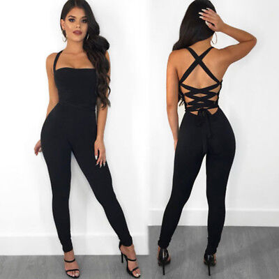 UK New Ladies Womens Sexy Bandage Jumpsuit Party Club Bodycon Romper Trousers