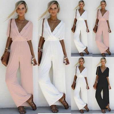 Womens Summer Holiday Deep V Neck Long Pants Jumpsuit Casual Playsuit Size 6-16