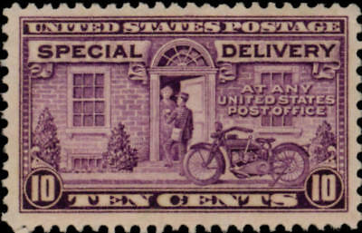 1927 10c Motorcycle, Special Delivery, Gray Violet Scott E15 Mint F/VF NH