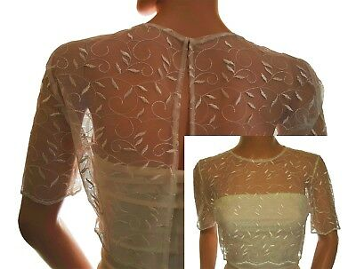 Womens Wedding leaf design Lace with half sleeve & crop Bolero,Jacket Size 8-20