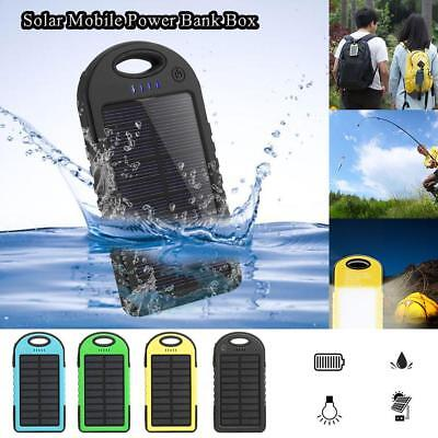 DIY Waterproof 300000mAh Power Bank 2 USB Solar Charger Power Bank Case with LED