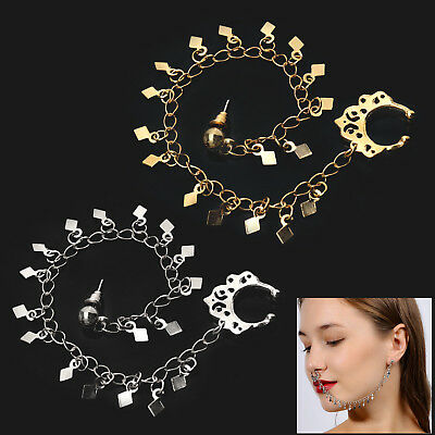 Indian Ear To NOSE Tassels Chain BRIDAL ANTIQUE JEWELLERY Dance Party Gifts