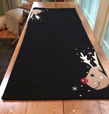 Christmas Table Runner REINDEER Wool Felt Mat NEW