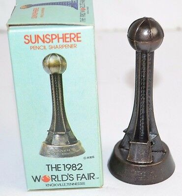 "Vtg 1982 WORLD'S FAIR Knoxville TN 4"" Metal SUNSPHERE Pencil Sharpener Statue"