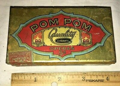 Antique Pom Pom Cigar Tin Litho Can Vintage Tobacco Newark Oh Country Store Old