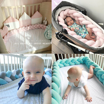 Luxury Baby Bedding Bumper Cushion Braided Crib Knotted Pillow Safe Protector UK
