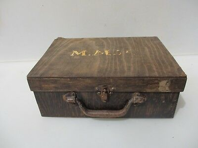 "Vintage Wooden Box Pine Iron Handle Storage Old Tray Antique Art Makeup ""M.MP"""