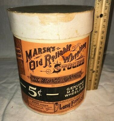 Antique Marsh Old Reliable Wheeling Stogies Vintage Cigar Tobacco Old Box N/ Tin