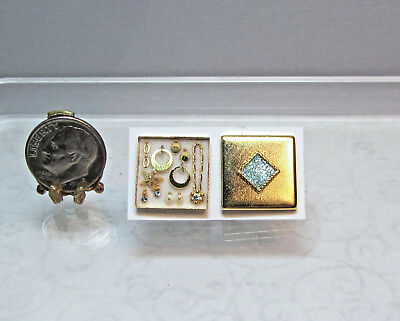 Dollhouse Miniature Gold Square Box Jewelry Set #1 by Cheryl Warder