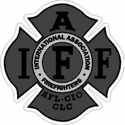 4 Inch Reflective IAFF Grey Firefighter Maltese Cross Firefighter Sticker