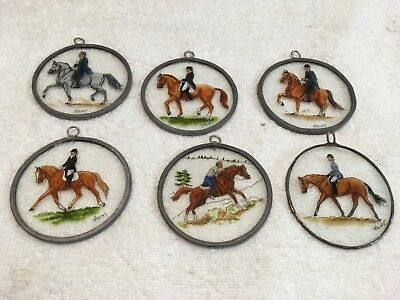 6 Hand Painted Equestrian - Fox Hunt - Horse Ornaments