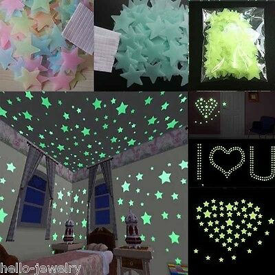 3D Stars Pack Glow In The Dark Moon Stickers Bedroom Wall Room DIY Decor 100PCs