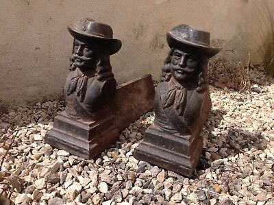 Vintage French Cast Iron Musketeer Firedogs Andirons
