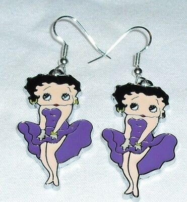 Betty Boop Purple Earrings Marilyn Pose Handcrafted Free Shipping within the USA