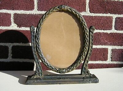 Antique Art Crafts Aged Bronze Gold Finish Braided Oval Glass Picture Frame 6~8