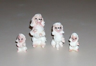 Vintage Miniature Set of 4 French Poodle Family Figurines White Pink Japan