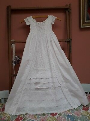 Vintage Christening Gown Dress Victorian Embroidery White Cotton Baby Doll Antiq