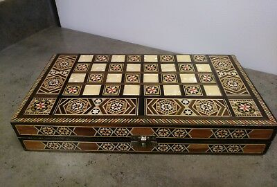 """Middle EasternBackgammon Chess Set/Wooden Inlaid Mosaic Mother of Pearl, 12"""""""