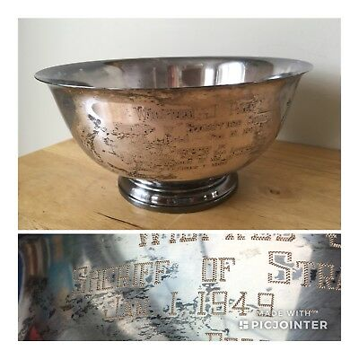 Vintage Webster Wilcox Silver Plate 336/9 Trophy Footed Bowl Sheriff Award 1968