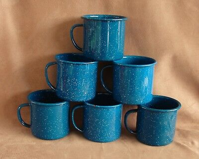 Six Vintage Enamel Cups Mugs Blue White Speckled Camping Dishes Farmhouse Decor