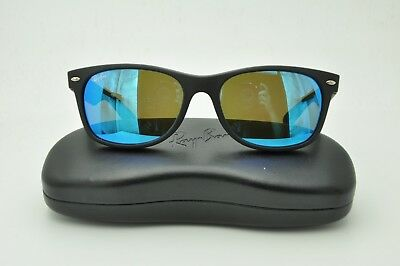 a8e454d86a Ray Ban RB 2132 New Wayfarer Sunglasses 622 17 Matte Black   Blue Flash 55mm