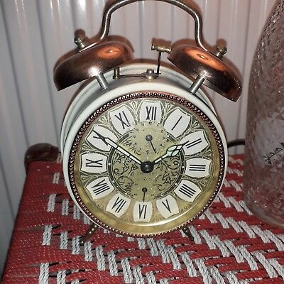 Vintage Peter wind up loud alarm clock German retro double bell luminous hands